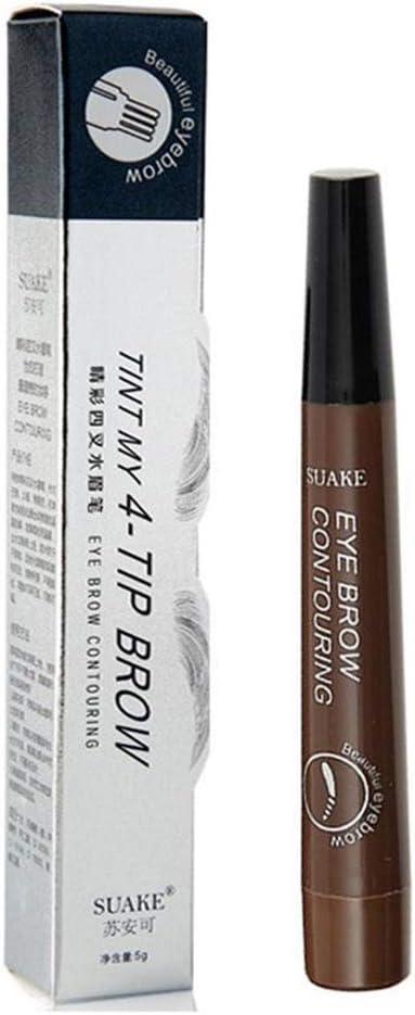4 puntas de tenedor Microblading Tatuaje de cejas Tinte Tinte Pluma Tinta Líquido Lápices para cejas De larga duración Sin florecer A prueba de ...