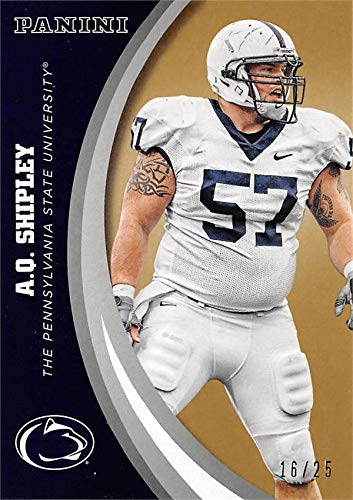 A.Q. Shipley football card (Penn State Nittany Lions) 2016 Panini Team Collection #46 Gold Edition LE ()