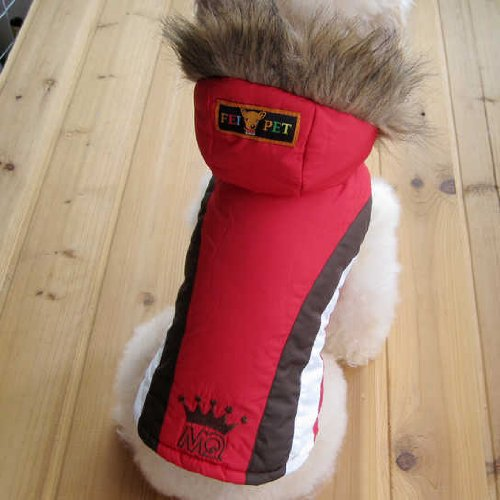 Pet Fashion Accessory Adorable Dog Clothing Snow Jacket Hoodie Polyester Cotton RED-Size 1