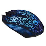JUDYelc Wired Gaming Mouse USB Cool Black Breathing Seven Colorful Led Lights Ergonomic Gaming Mice - Radiation protection