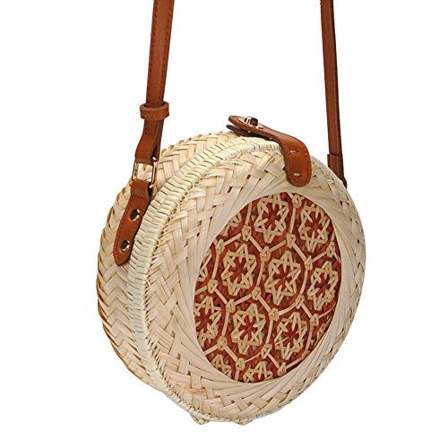 Complete Round Flower205 20cm Fashion Handmade Bag the Vintage length50 inches Your of Diameter Bohemia Look Blogger Fashionable strap Rattan Style cm Beach 126 Summer Woven Bag Straw fHf0Owx