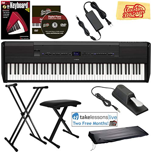Yamaha P-515 88-Key Digital Piano – Black Bundle with Adjustable Stand, Bench, Sustain Pedal, Dust Cover, Instructional Book, Online Lessons, Austin Bazaar Instructional DVD, and Polishing Cloth