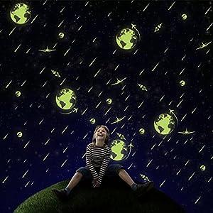 YJYDADA Wall Stickers,A Set Kids Bedroom Fluorescent Glow In The Dark Stars Wall Stickers Approx 26X36cm