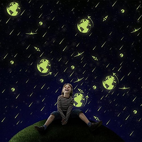 - YJYDADA Wall Stickers,A Set Kids Bedroom Fluorescent Glow In The Dark Stars Wall Stickers Approx 26X36cm