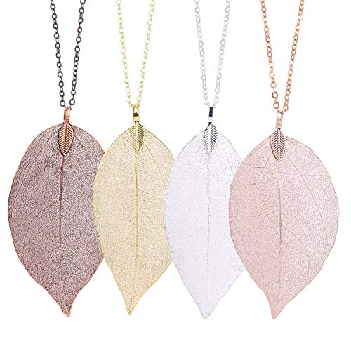 Wholesale 4 PCS Leaf Long Pendant Necklace Handmade Trendy Filigree Bohemian Jewelry for Women (Long Necklace Leaf)