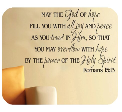 Christian Bible Verse Mouse Pad, May the God of Hope Fill You with All Joy and Peace as You Trust in Him…Romans 15:13, Mousepad Custom Freely Cloth Cover 9.84″ X 7.87″