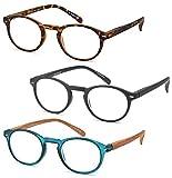 GAMMA RAY 3pk Retro Round Readers w Vintage Keyhole Bridge Reading Glasses - 2.50x