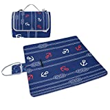 ALIREA Marine Rope And Anchors Picnic Blanket Tote Handy Mat Mildew Resistant and Waterproof Camping Mat for Picnics, Beaches, Hiking, Travel, RVing and Outings