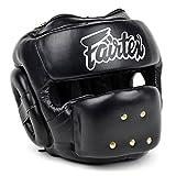 Fairtex HG14 Full Face Headguard HeadGear Helmet Boxing Head Guard Thai Boxing K-1 MMA Head Gear Guard Protective Muay Thai (Black, X-Large)