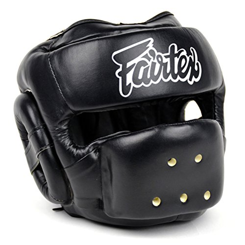 Fairtex HG14 Full Face Headguard Headgear Helmet Boxing Head Guard Thai Boxing K-1 MMA Head Gear Guard Protective Muay Thai (Black, X-Large)