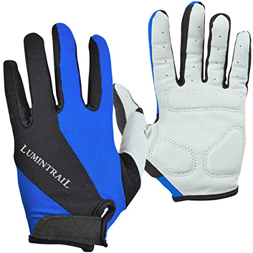 Lumintrail Shock-Absorbing Riding Full Finger Cycling Bike Gloves Breathable Sport for Men and Women (Blue, X-Large) ()