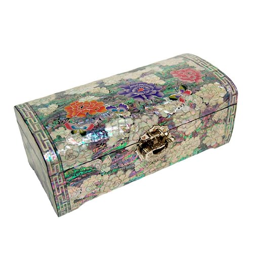 Mother of Pearl Red Purple Pink Peony Flower Design Lacquered Wooden Mirrored Lock Key Jewelry Trinket Keepsake Treasure Box Case Chest Organizer by Antique Alive Jewelry Box (Image #3)