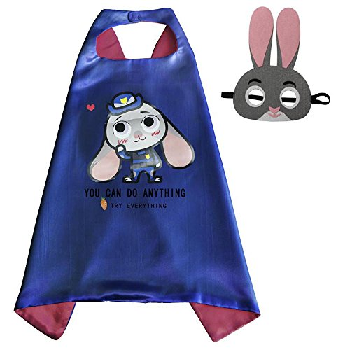 [Over 35+ Styles Superhero Halloween Party Cape and Mask Set for Kids (Judy Hopps)] (Girl Marvel Character Costumes)