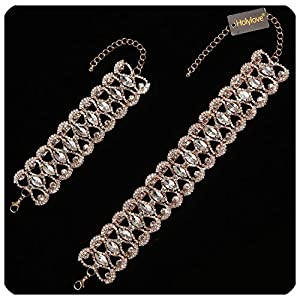 Holylove Fashion Bling Choker Necklace & Bracelet Set for Women (Black not Include Bracelet) 3 Colors with Gift Box