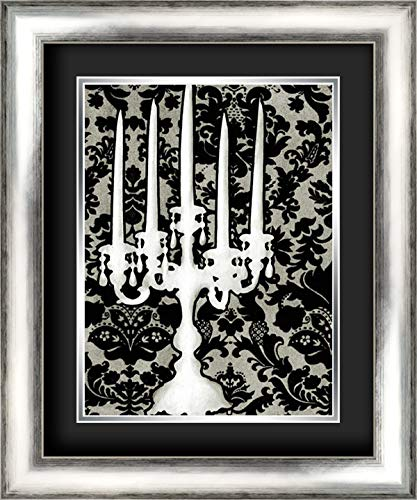 Patterned Candelabra II 20x24 Silver Contemporary Wood Framed and Double Matted (Black Over Silver) Art Print by Harper, Ethan