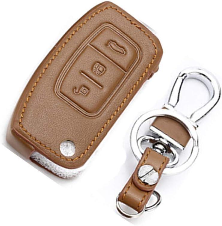 cover in vera pelle per chiavi pieghevoli di auto Ford con portachiavi Happyit