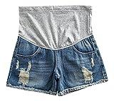 Hibukk Mid Blue Washed Denim Torn Raw Hem Pocketed Full Panel Maternity Shorts, Blue 2,Manufacturer(M)