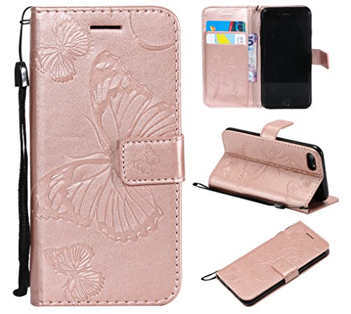 Cmeka Emboss Butterfly Wallet Case for iPhone