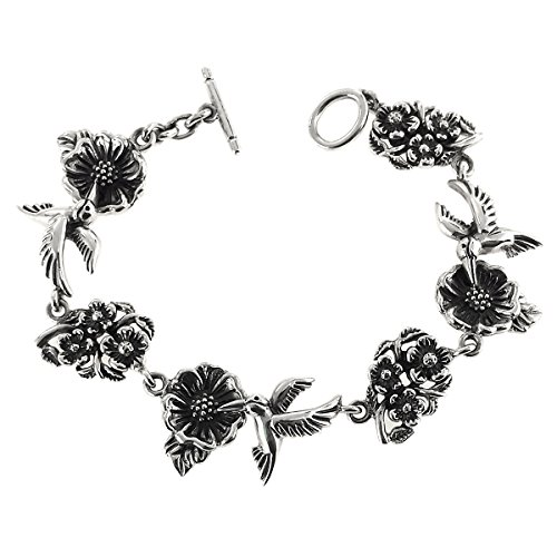 (Aleria Designs Sterling Silver Hummingbirds and Flowers Bracelet, 6 7/8