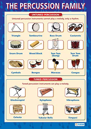 Percussion Instruments | Music Posters | Gloss Paper measuring 33