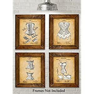 Original Corsets Patent Art Prints – Set of Four Photos (8×10) Unframed – Makes a Great Gift Under $20 for Goth…