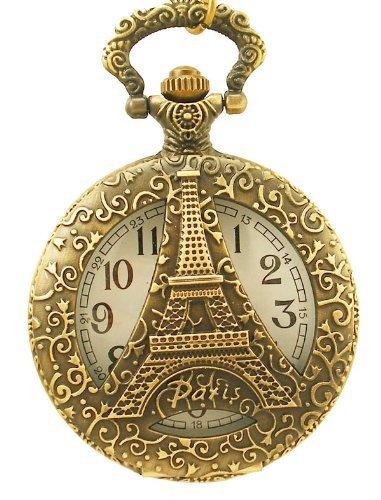 Glass Surface Eiffel Tower Quartz Pocket Watch with Chain