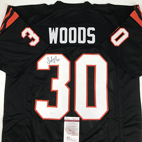 Autographed/Signed Ickey Woods Cincinnati Black Football Jersey JSA COA