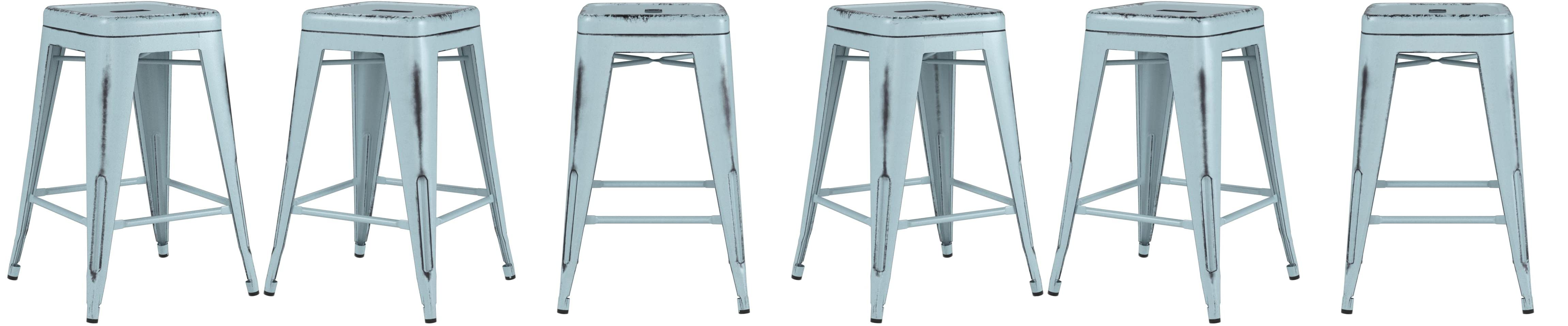 Amazon.com: Flash Furniture 24\'\' High Backless Distressed Green-Blue ...