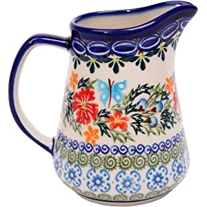 Polish Pottery Ceramika Boleslawiec, 0205/238, Pitcher Jacek 1, 1 Cup, Royal Blue Patterns with Red Cornflower and Blue Butterflies Motif