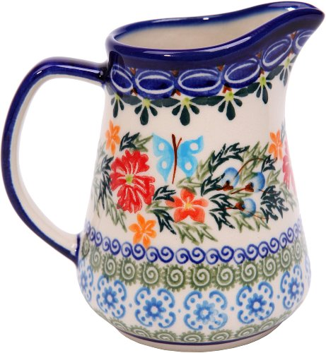 - Polish Pottery Ceramika Boleslawiec, 0205/238, Pitcher Jacek 1, 1 Cup, Royal Blue Patterns with Red Cornflower and Blue Butterflies Motif