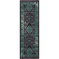 Maples Rugs Runner Rug - Georgina 2 x 6 Non Skid Hallway Carpet Entry Rugs Runners [Made in USA] for Kitchen and Entryway, 2' x 6', Wineberry/Teal