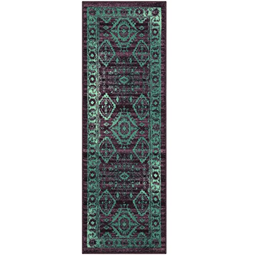 Maples Rugs Runner Rug - Georgina 2 x 6 Non Skid Hallway Carpet Entry Rugs Runners [Made in USA] for Kitchen and Entryway, 2' x 6', Wineberry/Teal by Maples Rugs