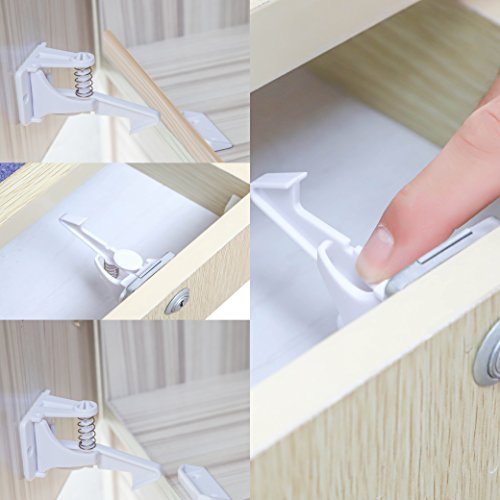 Cabinet Locks Child Safety 12 Pack - Baby Proof Drawer Latches Locks 3M Invisible Design NO Tools Needed by Bricraft (Image #4)