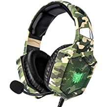 RUNMUS Gaming Headset for PS4, Xbox One, PC Headset w/Surround Sound, Noise Canceling Over Ear Headphones with Mic & LED Light, Compatible with PS4, Xbox One, Switch, PC, PS3, Mac, Laptop, Green
