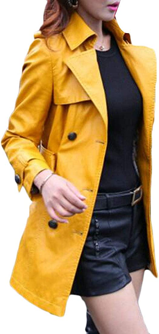 WAWAYA Womens Slim Fit Fashion Belted Double Breasted Pu Leather Jacket Trench Coat