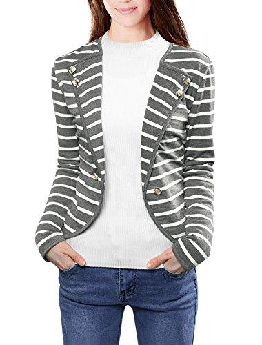 Allegra K Women's Notched Lapel Button Decor Lightweight Striped Blazer Jacket Gray M US 10