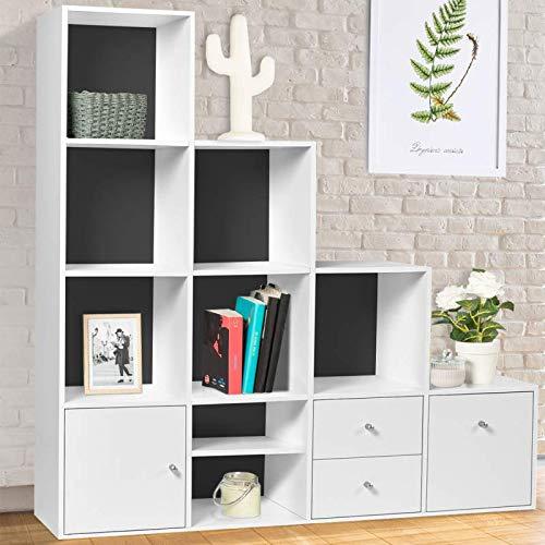 IDMarket Meuble de rangement escalier 4 niveaux bois blanc fond gris avec porte et tiroirs