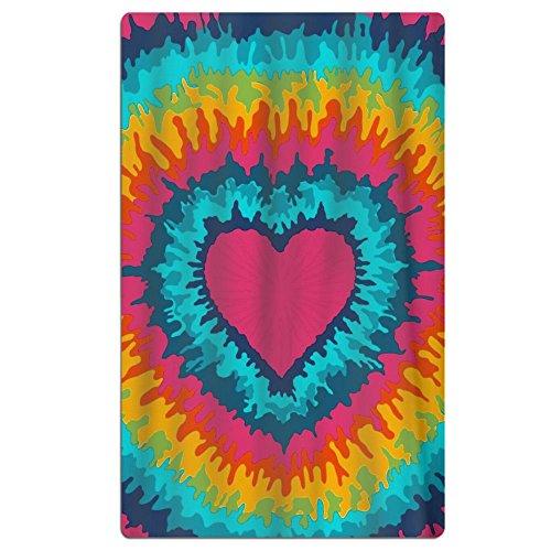 FSKDOM Tie Dye Love Heart Quick Dry Antibacterial Lightweigh