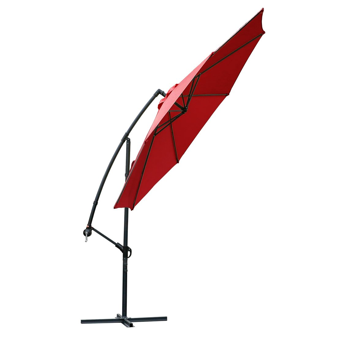10 ft offset cantilever patio umbrella outdoor market hanging umbrellas & cranks with cross base, 8 ribs (10 ft, Red)   B073W6CFTW
