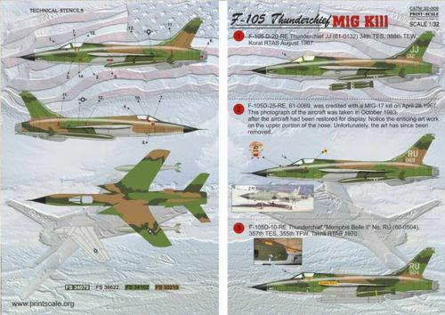 Print Scale 32-009 - 1/32 Decal for F-105 Thunderchief Mig Kill 4