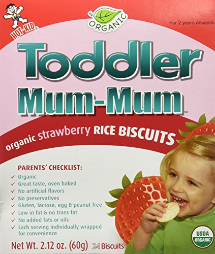 (Hot-Kid Toddler Mum-Mum Rice Biscuits, Organic Strawberry, 24 Pieces Gluten Free, Allergen Free, Non-GMO, Rice Teether Cookie for Teething Infants)