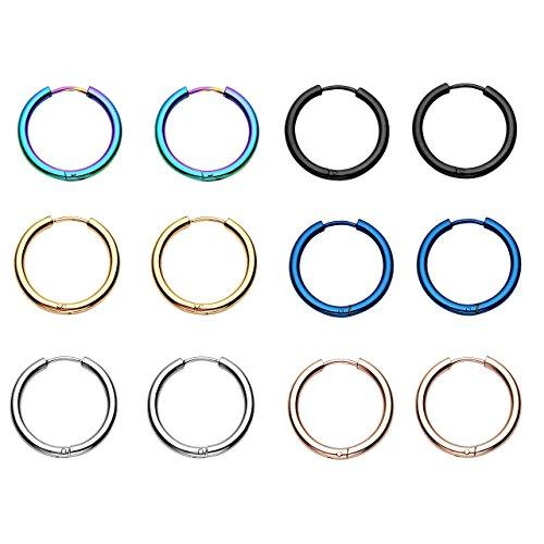 BOPREINA 6 Pairs 18G 8mm-20mm Stainless Steel Mens Womens Endless Hoop Earrings Cartilage Piercing Rings