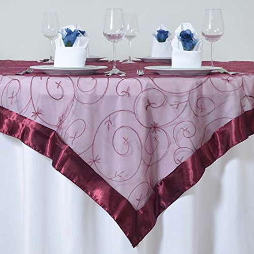 Embroidered Square Tablecloth - Efavormart Burgundy Organza Embroidered Square Tablecloth Overlay 72