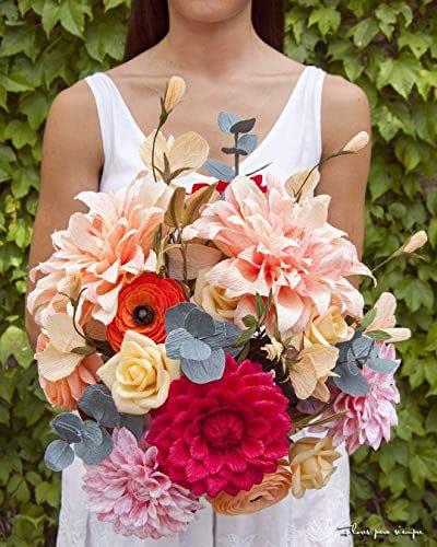 Whole Foods Wedding Bouquet: Amazon.com: Crepe Paper Flower Wedding Bridal Boho Bouquet
