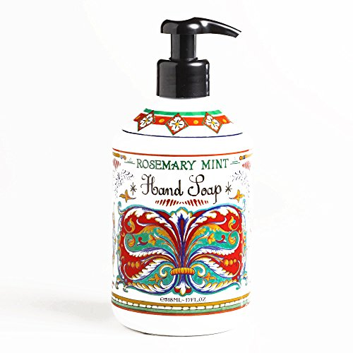 World Market Deruta Rosemary Mint Hand Soap - Perfect Kitchen Decor Antibacterial Soap - Organic Liquid Handsoap with Italian Soap Dispenser - Hand Sanitizer to Everyone - Bathroom or Kitchen 17 Ounce (Pour Soap Dispenser)