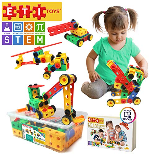 ETI Toys, STEM Learning, 172 Piece Original Educational Construction Engineering Building Blocks Set for 3, 4 and 5+ Year Old Boys & Girls, Creative Fun Kit, Best Toy Gift for Kids Ages 3yr - 6yr (Creative Gifts For 3 Year Old Boy)