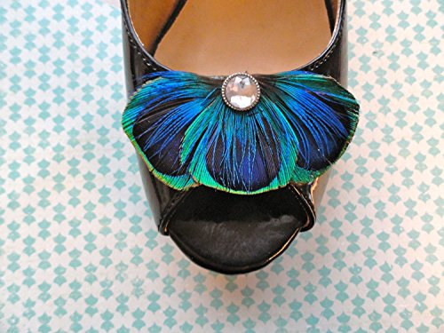 Oh Lucy Handmade BALEY Blue Peacock Feather Shoe Clips with Crystal Jewel or Pearl