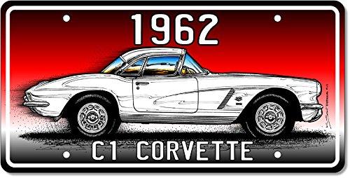 (1962 C1 Corvette License Plate Art - Red)