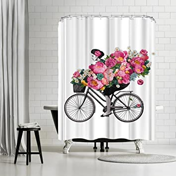 Americanflat Floral Bicycle Shower Curtain By Laura Grave 74quot X 71quot