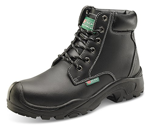 Click S3 Safety Boots Black Steel Toecap & Midsole, Water Resistant - Size 44/10